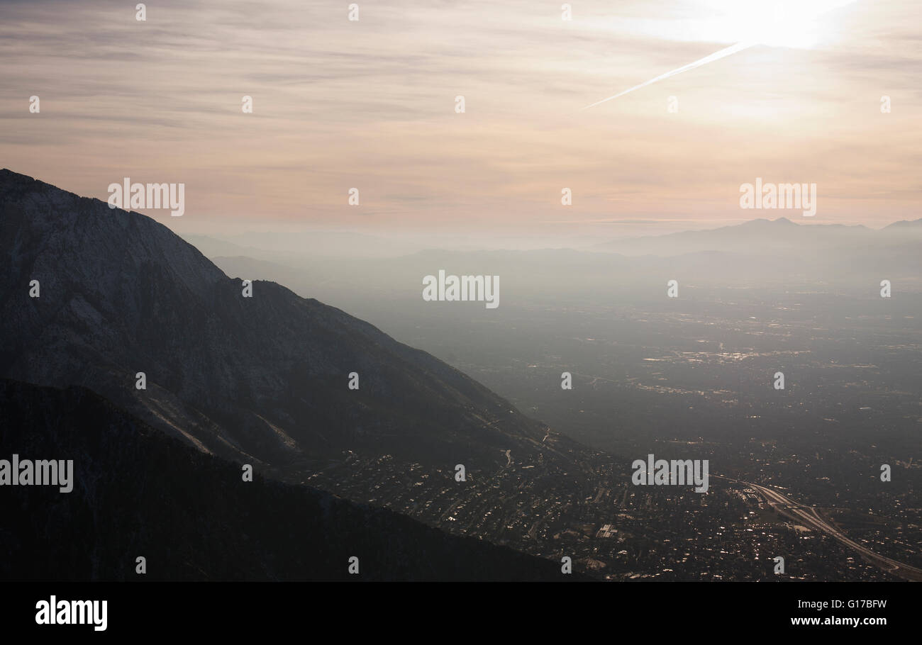 View of Salt Lake City from Grandeur Peak, Utah, USA - Stock Image