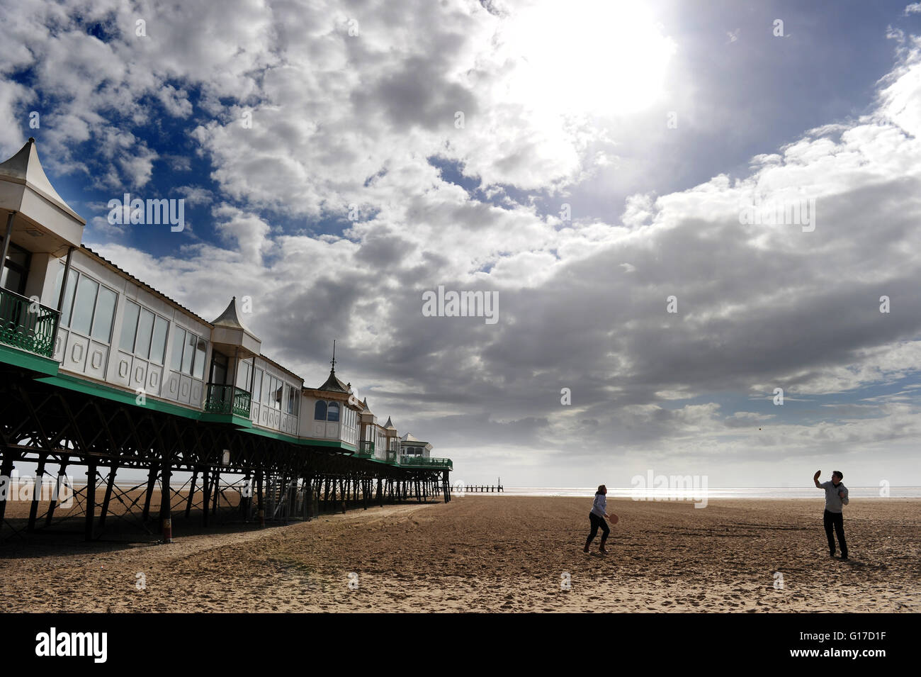 Quiet spring day on the beach at Lytham St Anne's, Lancashire. Picture by Paul Heyes, Monday May 02, 2016. - Stock Image