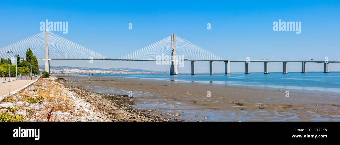 Vasco de Gama Bridge in Lisbon, Portugal - Stock Image