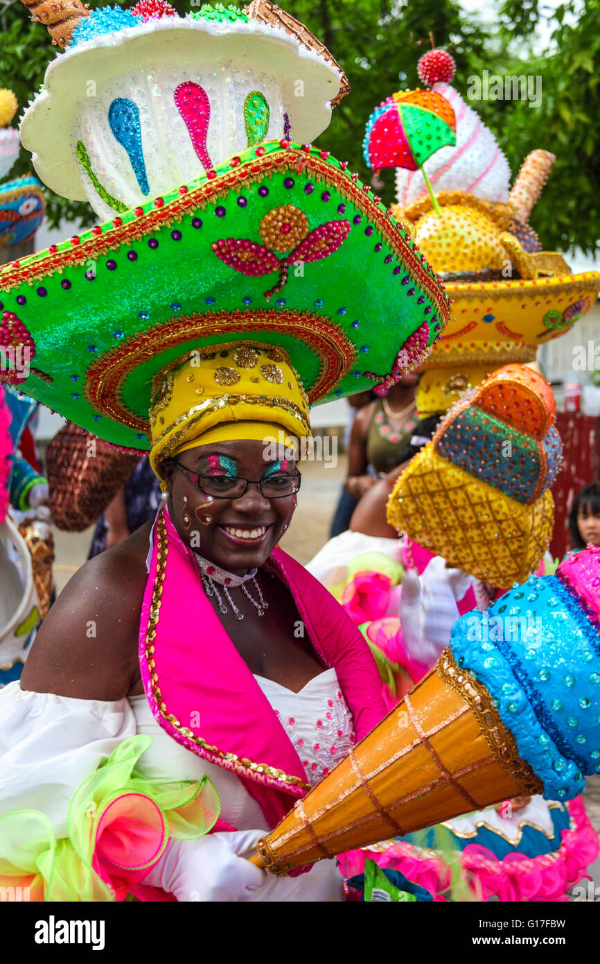 Colorfully costumed Curacao participant  in St. Maarten's  2011 Carnival in Philipsburg - Stock Image