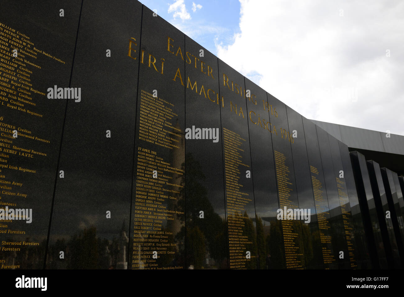 Easter Rising Memorial centenary celebrations Glasnevin Cemetery Dublin Wall name names commemorate remembrance - Stock Image