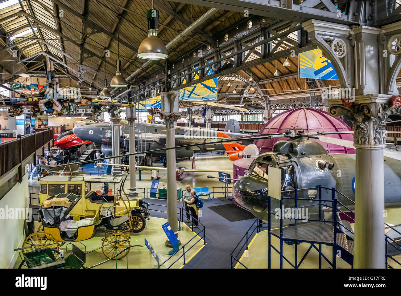 Airplanes and Vehicles on display the Air & Space Hall at the Museum of Science and Industry in Manchester (MOSI), - Stock Image