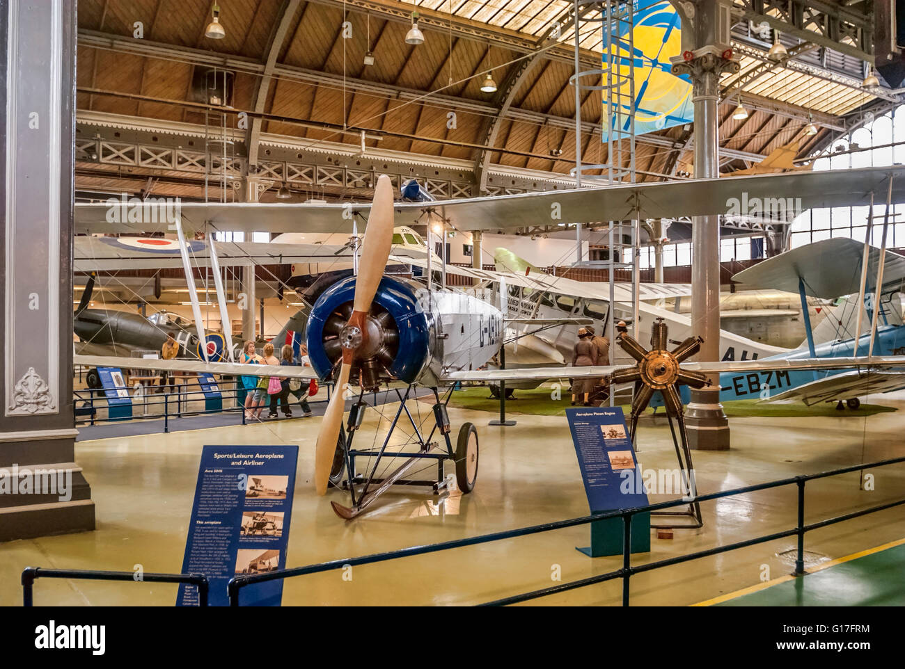 Airplanes on display the Air & Space Hall at the Museum of Science and Industry in Manchester (MOSI), England. - Stock Image
