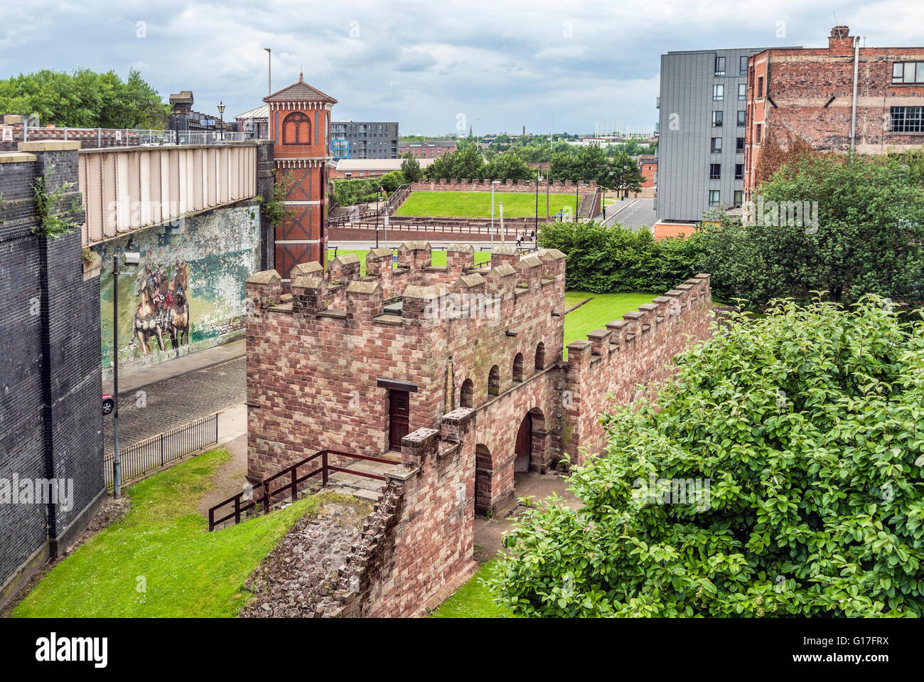 The remains of the Roman fort (Mamucium), protected as Scheduled Ancient Monument in the Castlefield area of Manchester, - Stock Image