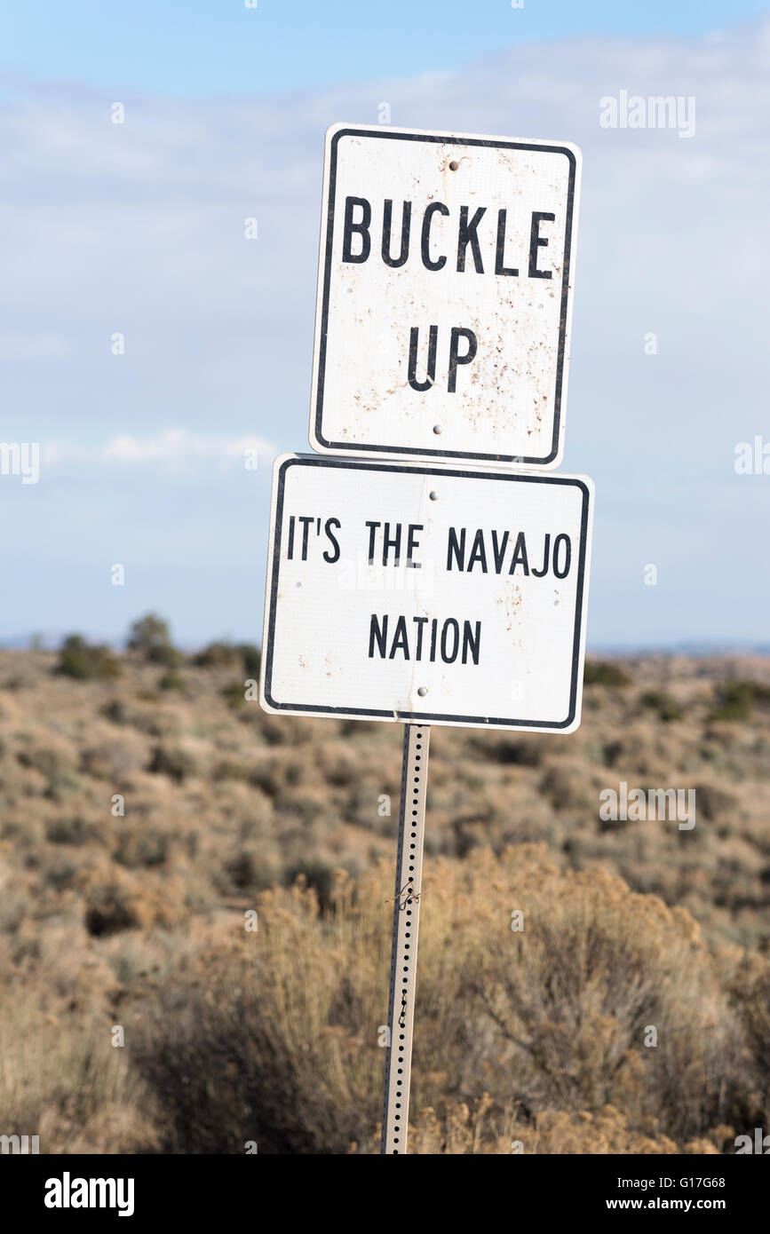 Buckle Up sign on the Navajo Nation, New Mexico. - Stock Image