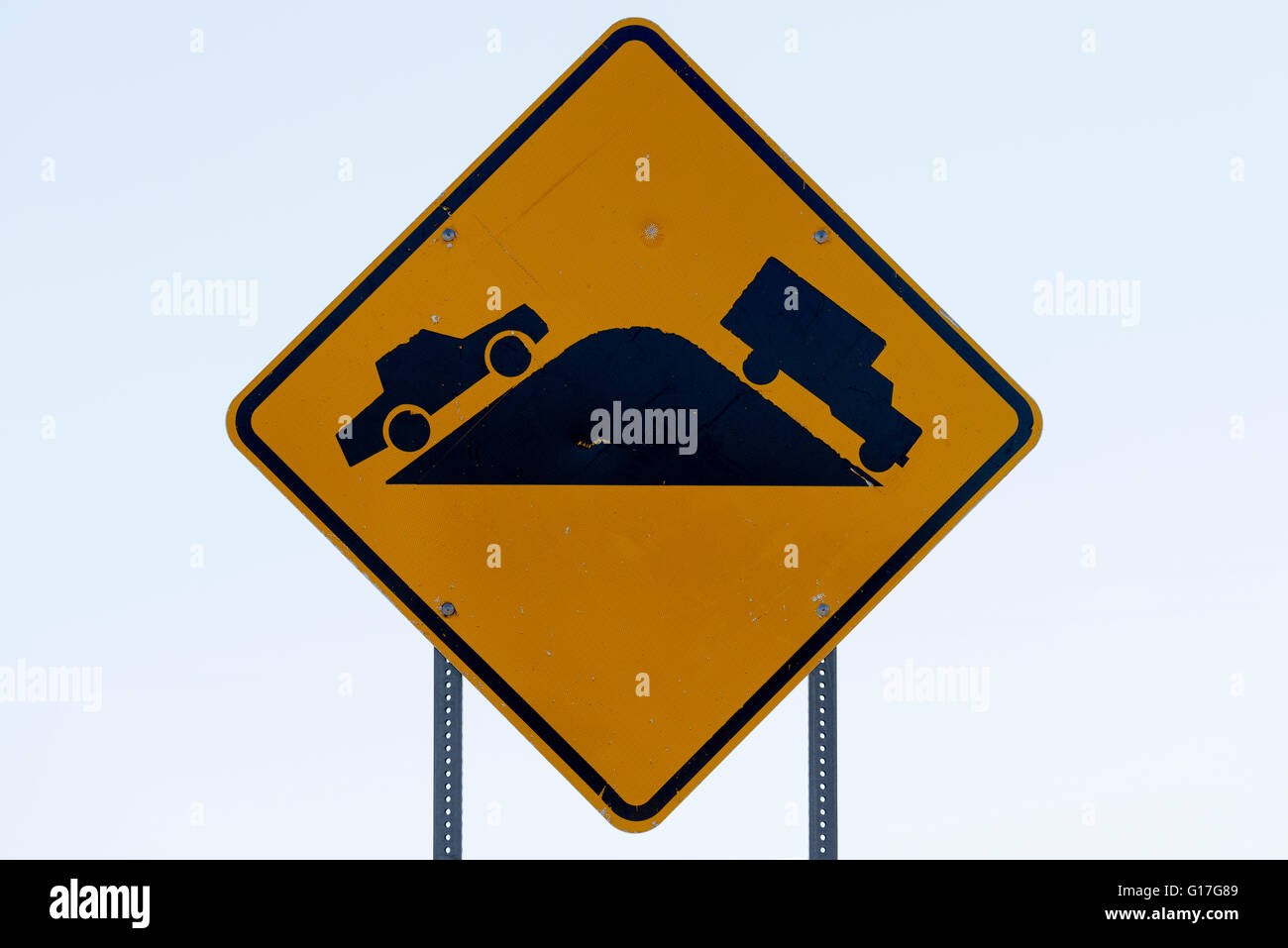 Restricted visability highway sign on Highway 550 at the Continental Divide in New Mexico. - Stock Image