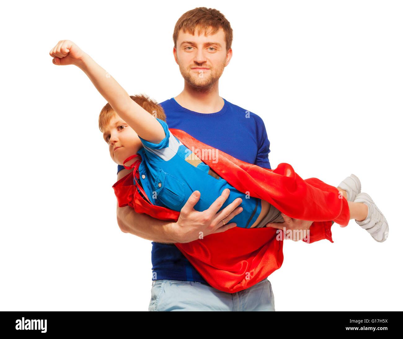 Super hero kid having fun with his dad Stock Photo: 104044022 - Alamy
