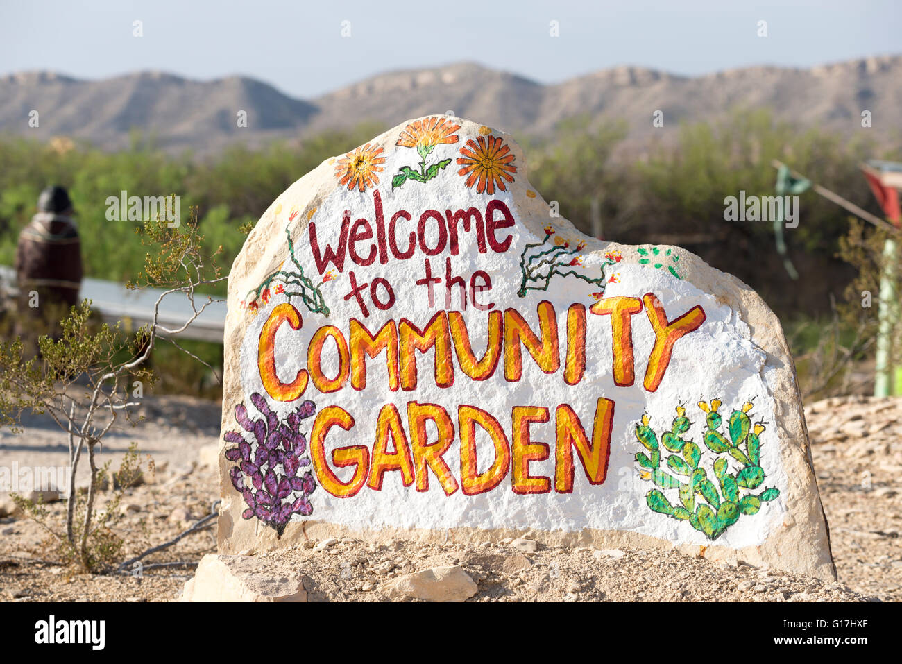Superior Painted Rock Welcome Sign For The Community Garden In Terlingua, Texas.