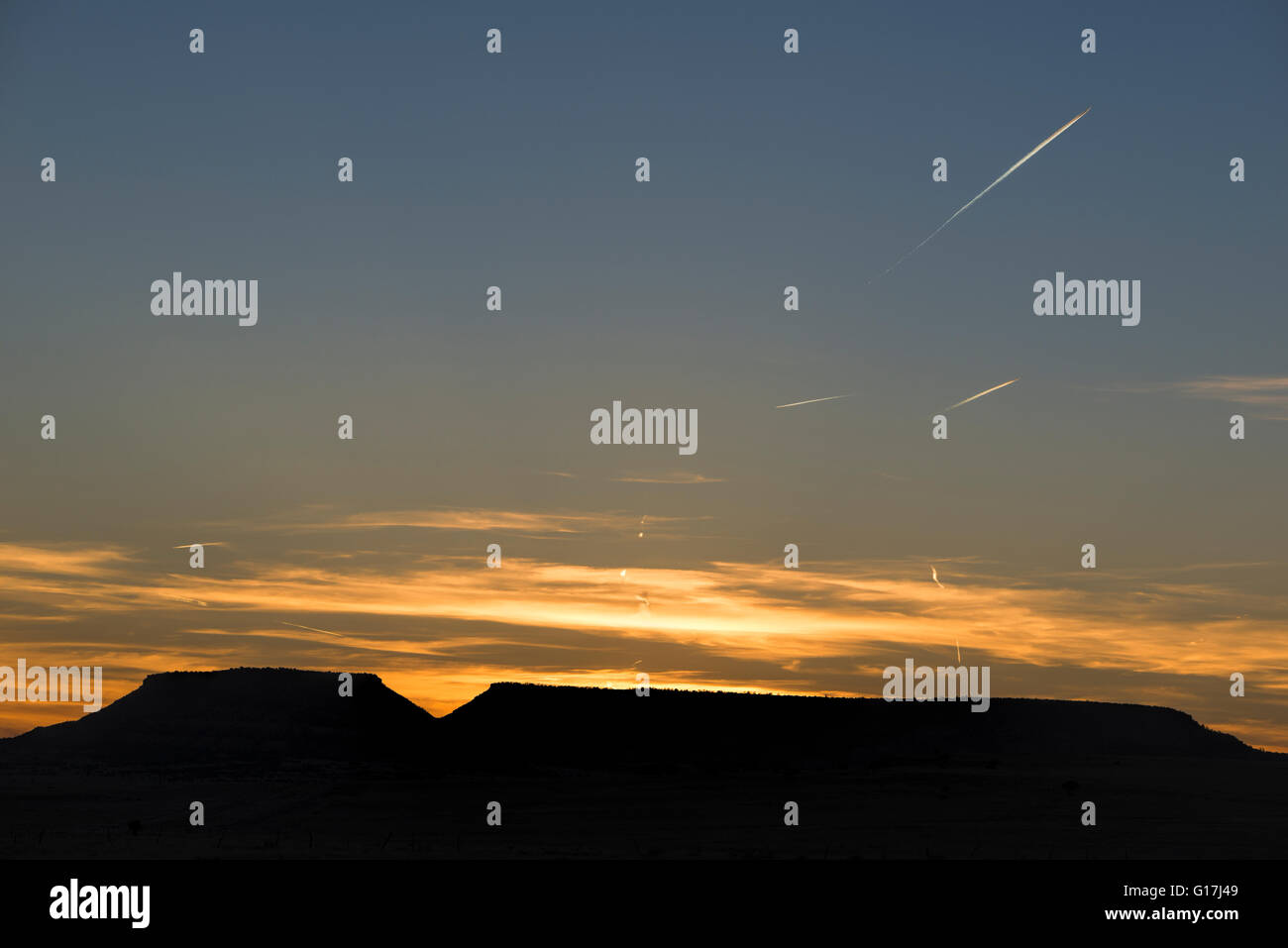 Multiple jets in the sky over McKinley County, New Mexico. - Stock Image