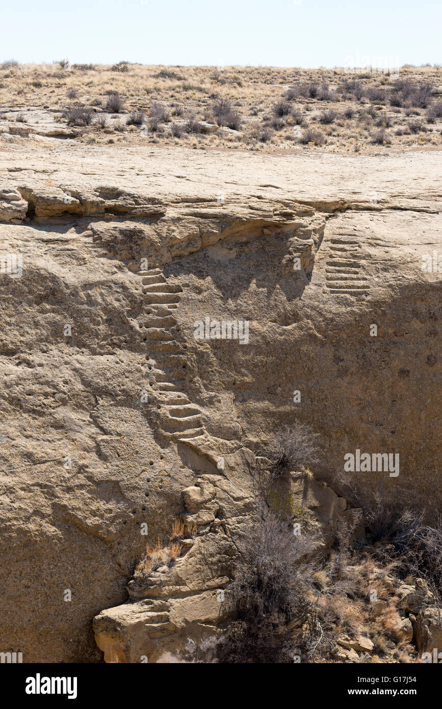 Jackson Stairway, steps carved into rock by Ancient Puebloan Indians, Chaco Culture National Historical Park, New - Stock Image