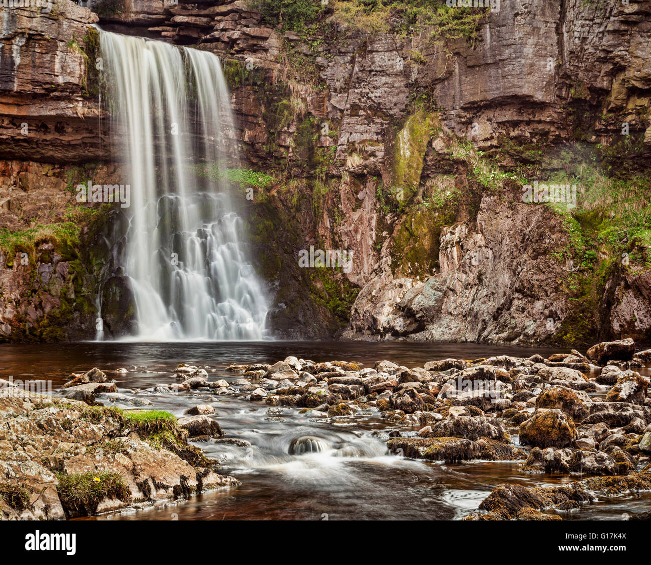 Thornton Force, a waterfall on the Ingleton Waterfall Trail, Yorkshire Dales National Park, North Yorkshire, England, - Stock Image