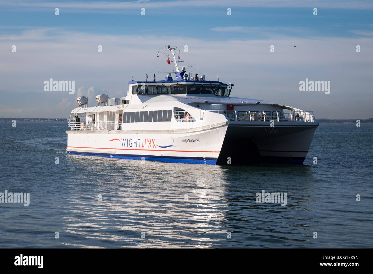 Wightlink passenger ferry, Wight Ryder 2 approaching Ryde Pier, Isle of Wight - Stock Image