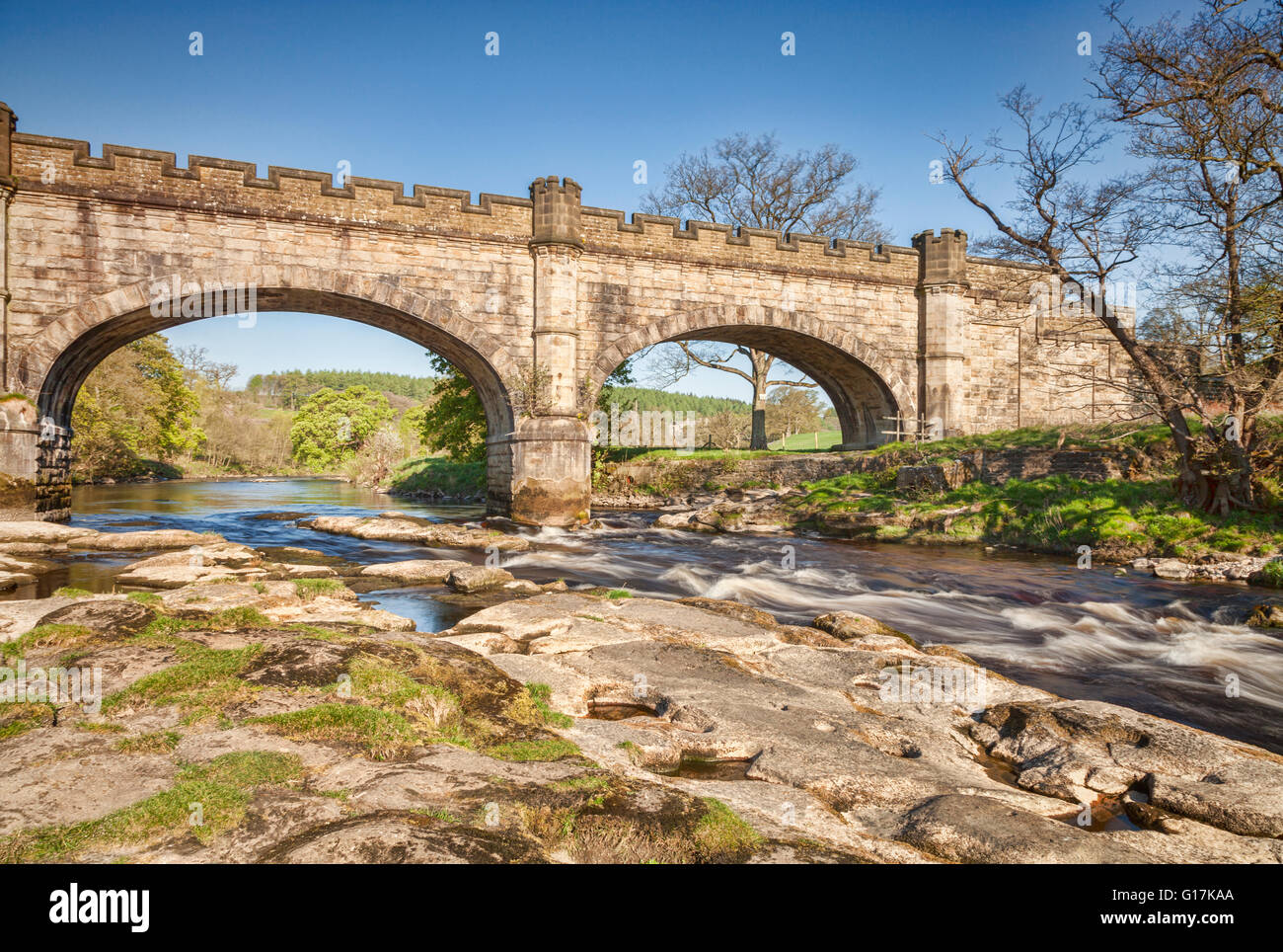 Barden Bridge over the River Wharfe, Bolton Abbey Estate, Yorkshire Dales National Park, North Yorkshire, England, - Stock Image
