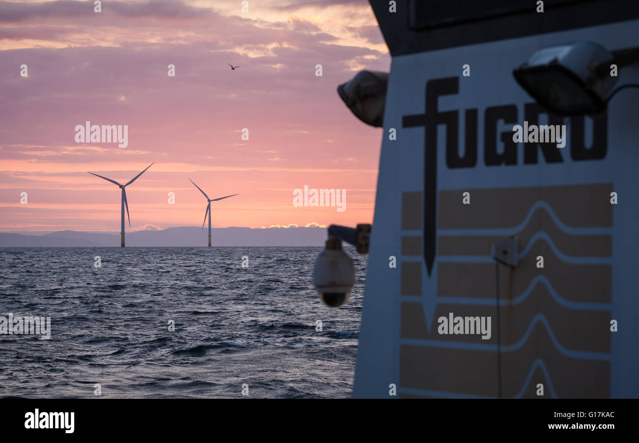 Morning on a Fugro Vessel working on the Walney Extension Offshore Wind Farm in the UK - Stock Image