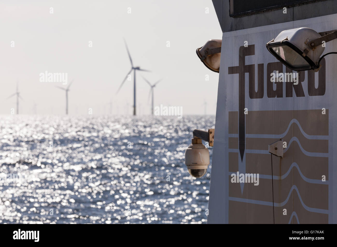 Fugro survey ship, Fugro Helmert working on Walney Offshore Wind Farm off the Cumbrian Coast in the UK - Stock Image