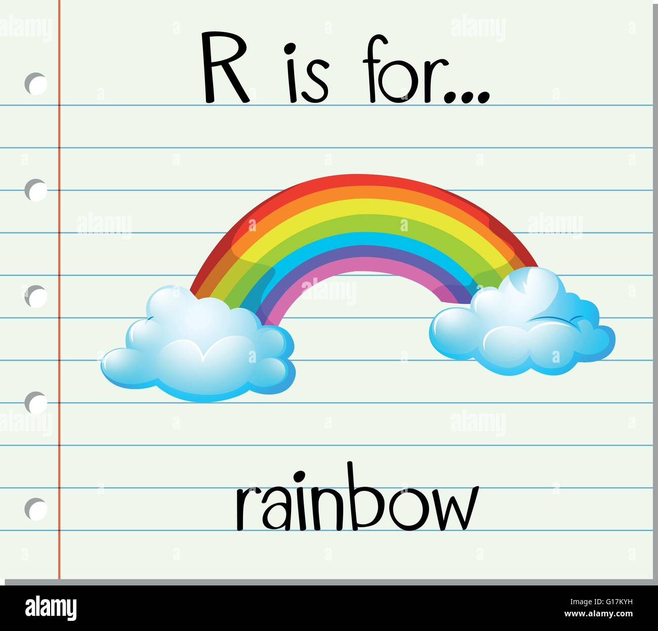 flashcard letter r is for rainbow illustration stock vector art