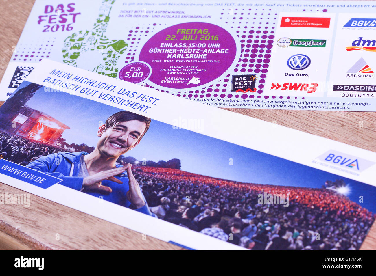 Karlsruhe, Baden Wuerttemberg, Germany - April 11, 2016: Tickets to Das Fest 2016, The festival is one of the largest - Stock Image