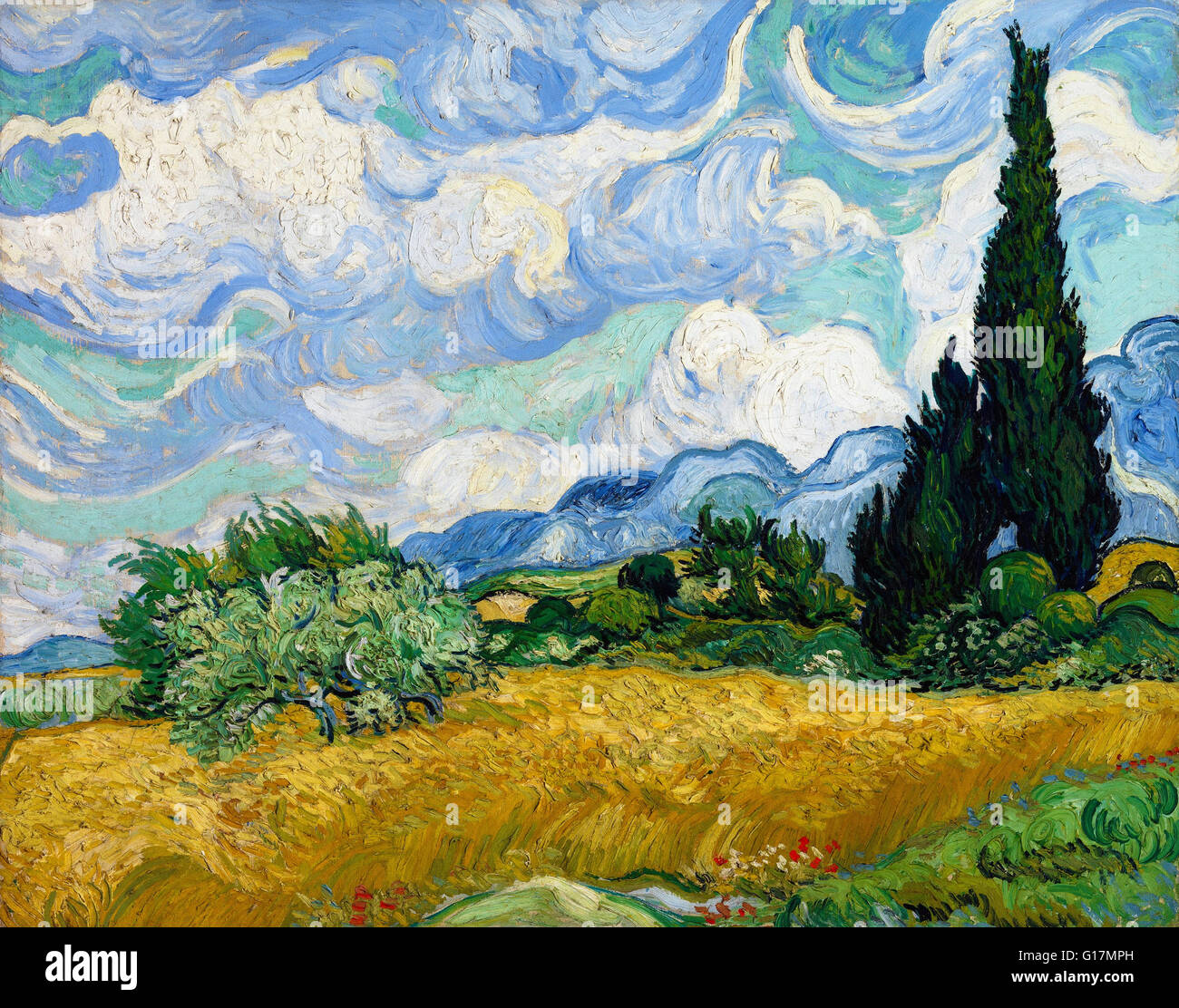 Vincent van Gogh - Wheat Field with Cypresses -  The Metropolitan Museum of Art - Stock Image