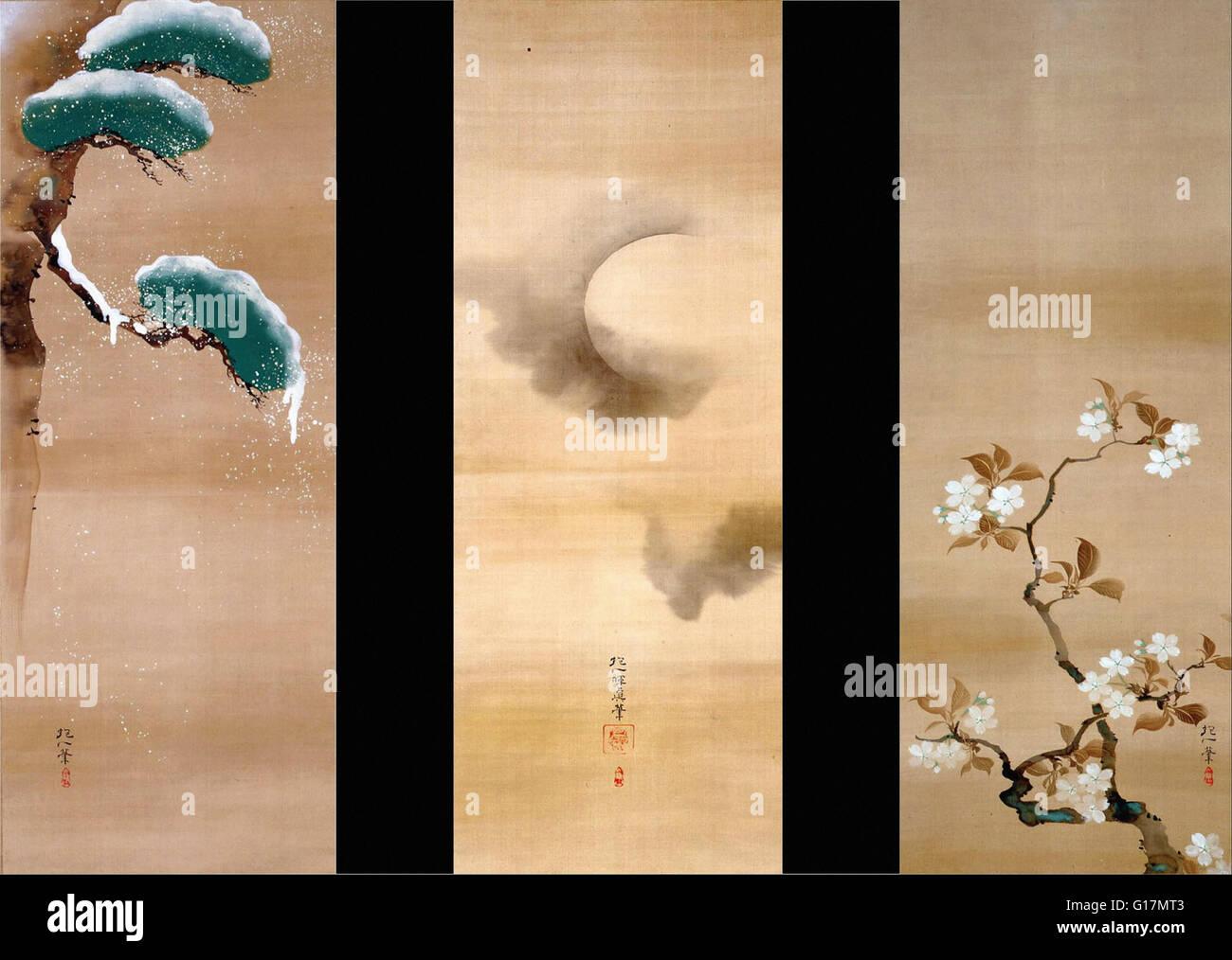 Sakai Hoitsu - SNOW, MOON AND FLOWERS - MOA Museum of Art - Stock Image