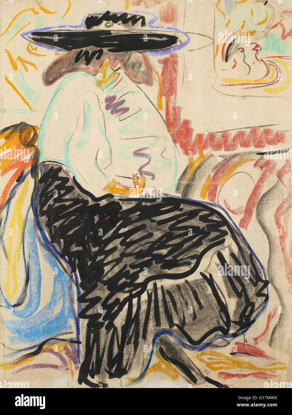 Ernst Ludwig Kirchner - Seated Woman in the Studio - Minneapolis Institute of Art - Stock Image