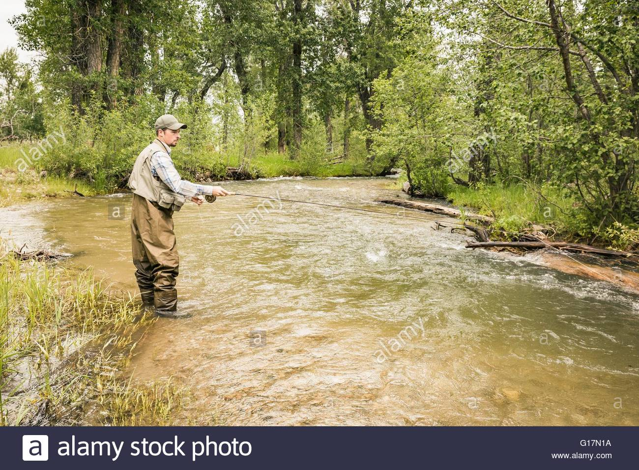 Man wearing waders ankle deep in water fishing in river - Stock Image