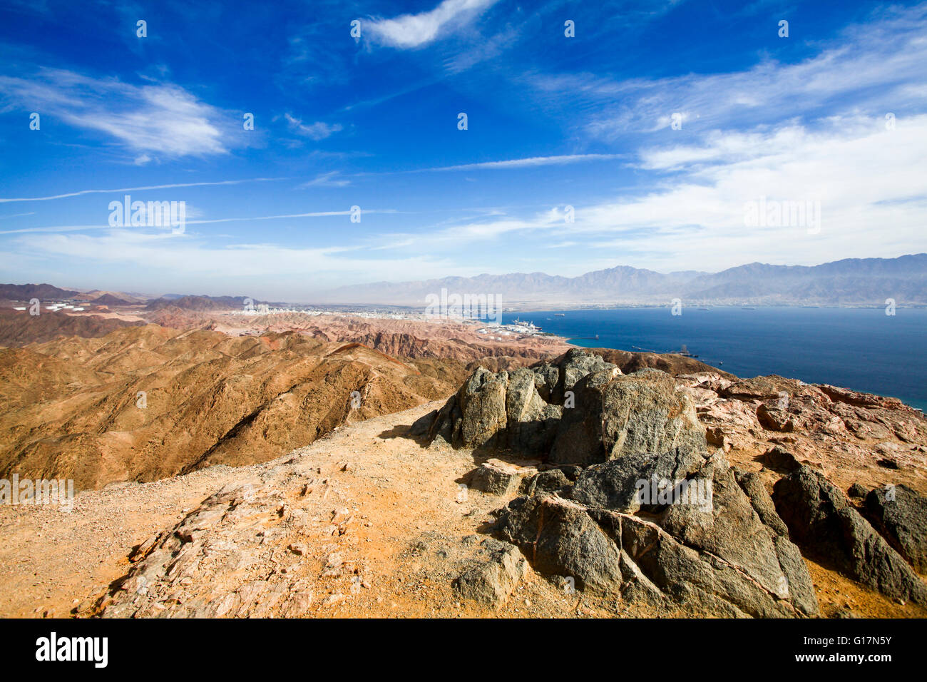 Eilat mountain range with The gulf of Aqaba in background, Israel - Stock Image