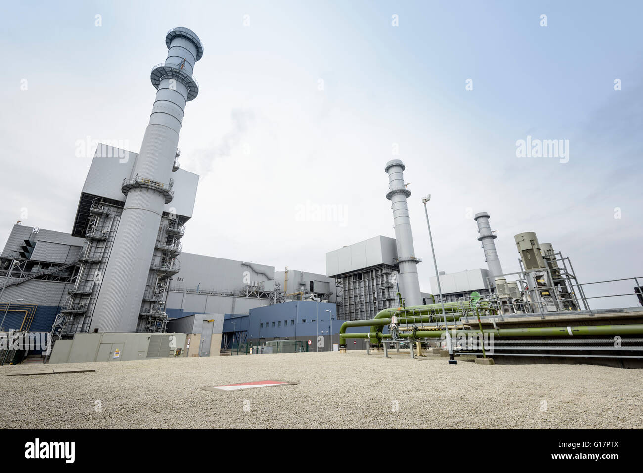 View of gas-fired power station, low angle view - Stock Image