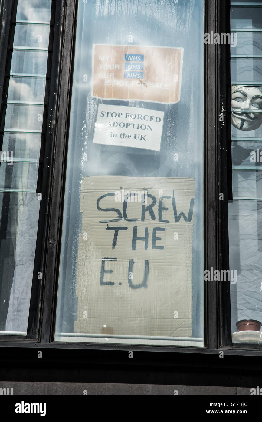 Anti EU and Government propaganda that was on display in a window of a house in Great Yarmouth, Norfolk, UK. - Stock Image