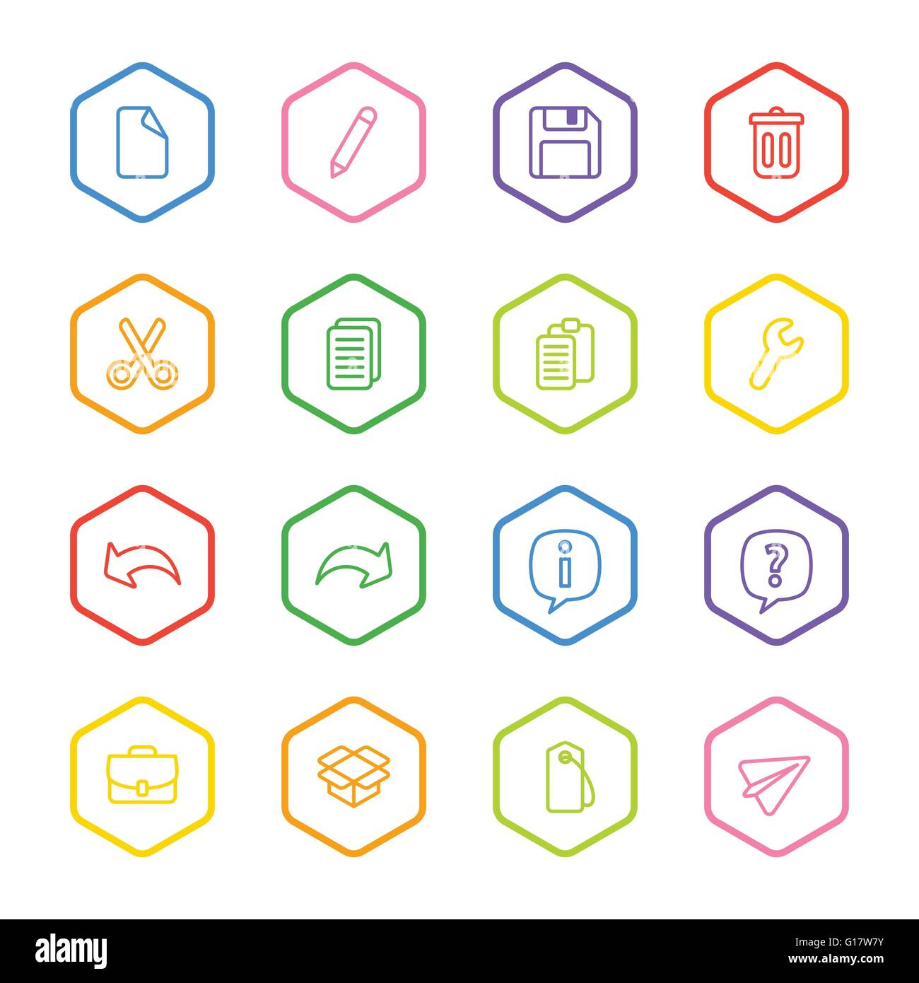 EPS10] colorful line web icon set with hexagon frame for web, UI ...