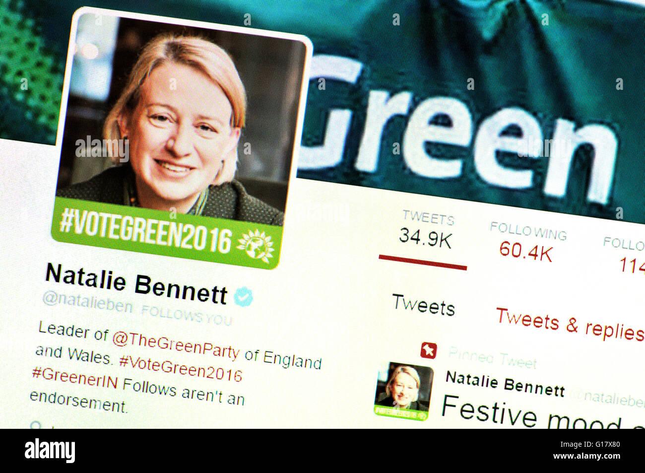 Twitter homepage screenshot: Natalie Bennett, Green Party leader (May 2016) - Stock Image