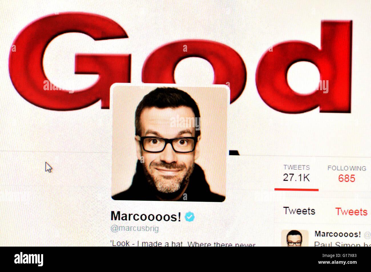 Twitter homepage screenshot: Marcus Brigstock, comedian (May 2016) - Stock Image