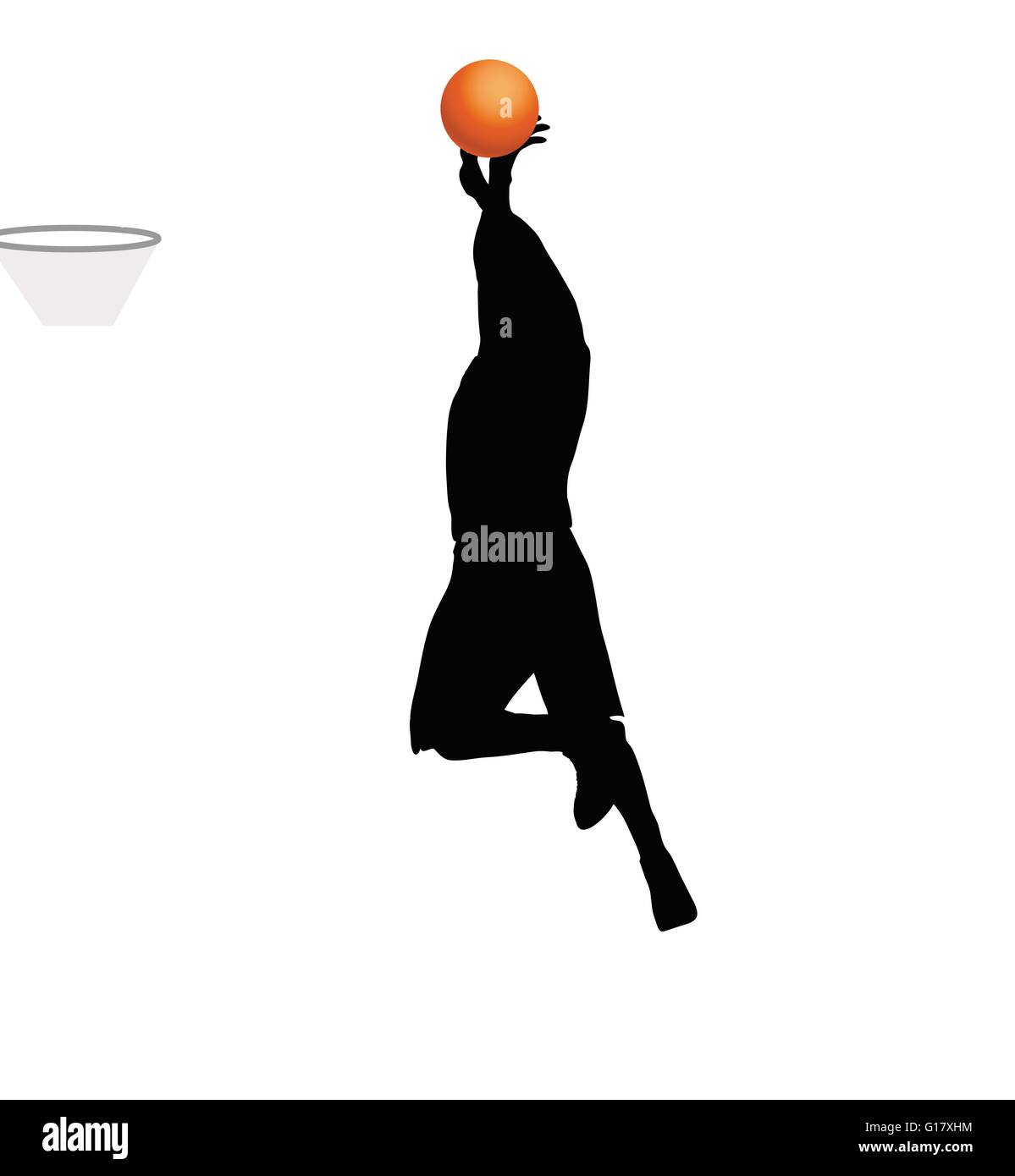 95c820683 Vector Image - basketball player man silhouette isolated on white background  - Stock Image