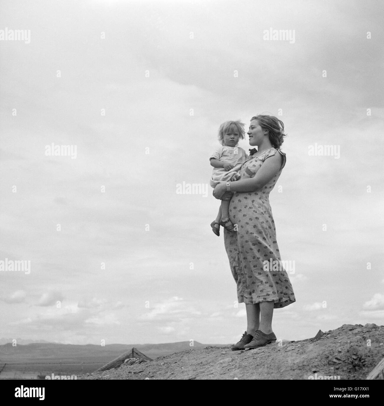 Two Children of Family Living on Grazing Land Project, Oneida County, Idaho, USA, Arthur Rothstein for Farm Security - Stock Image