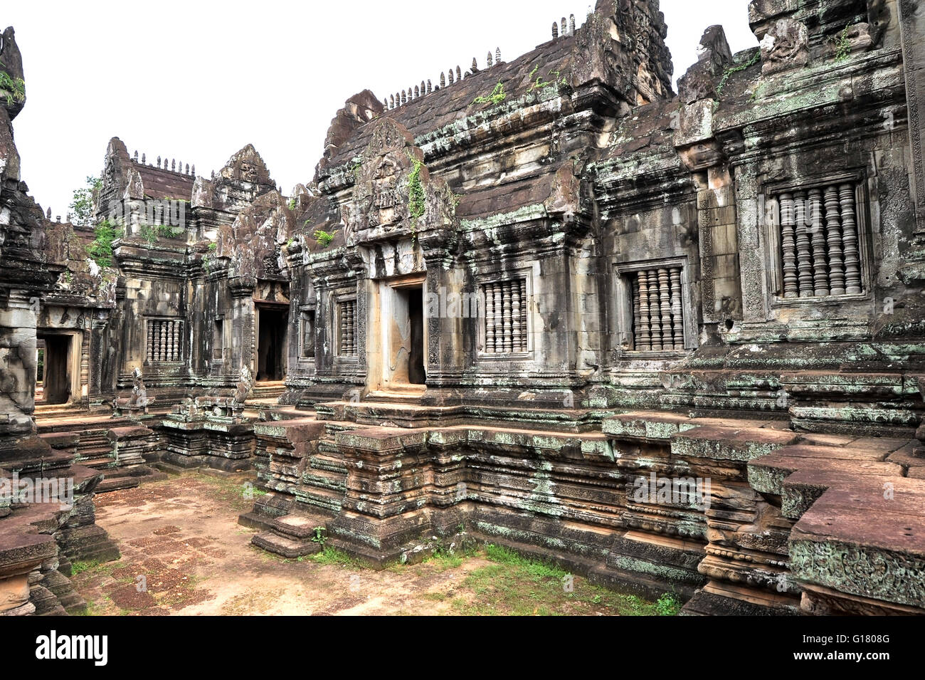 Angkor Wat is a temple complex in Cambodia and the largest religious monument in the world. Stock Photo
