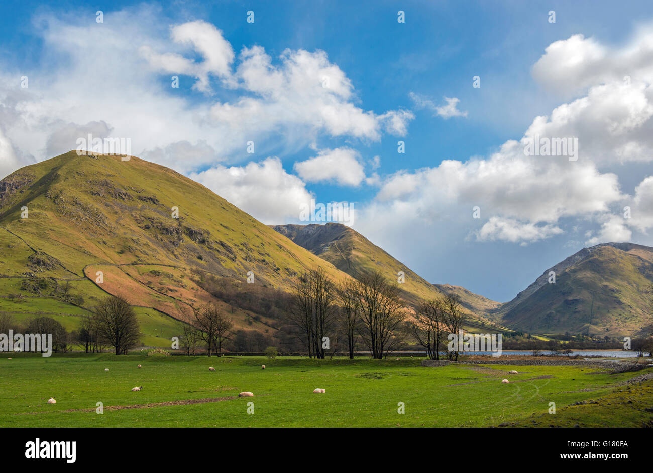 Hartsop and High Hartsop Dodds above Brotherswater in the Lake District National Park, Cumbria, on a sunny Spring - Stock Image