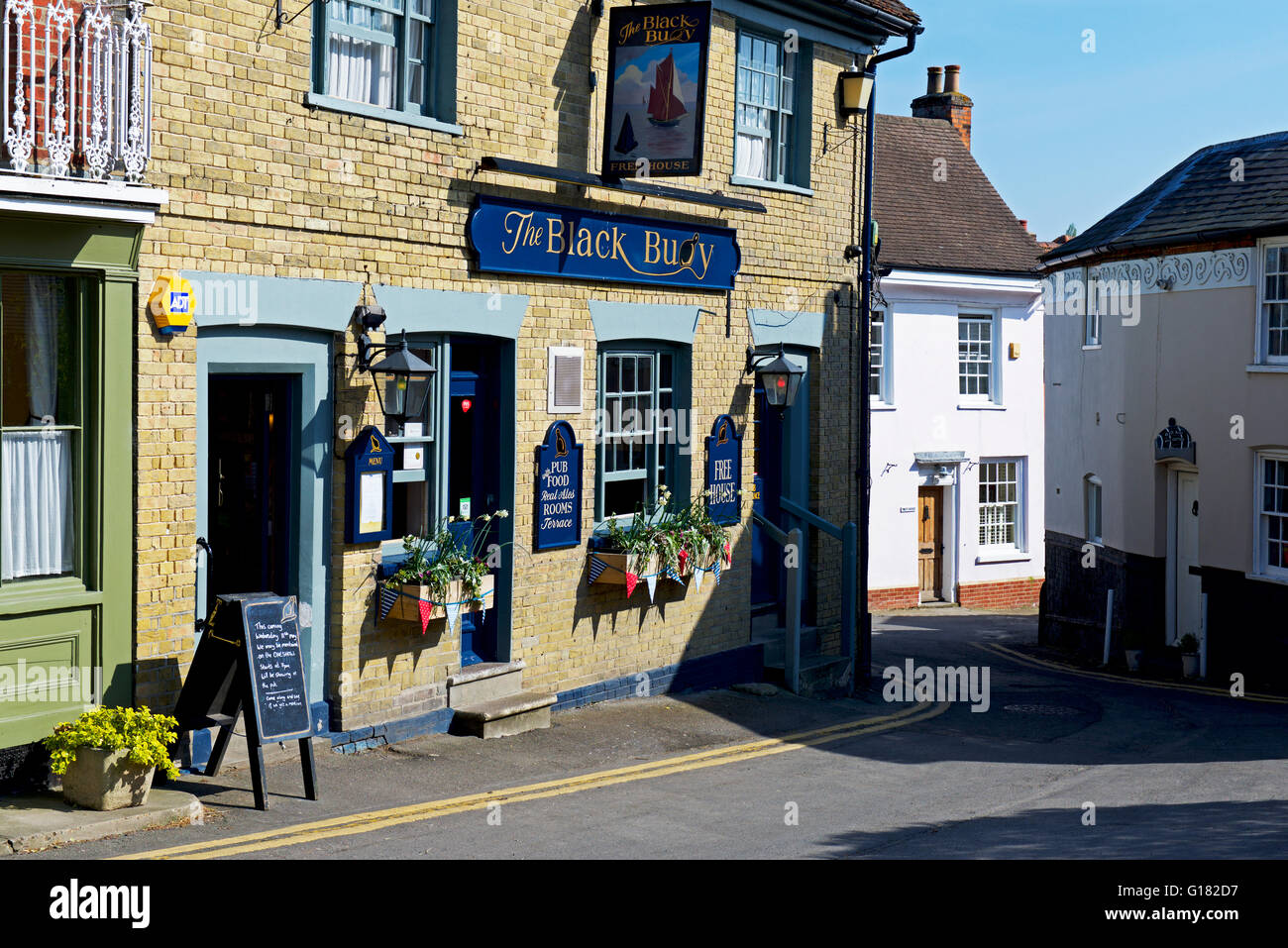 The Black Buoy pub in Wivenhoe, Essex, England UK - Stock Image