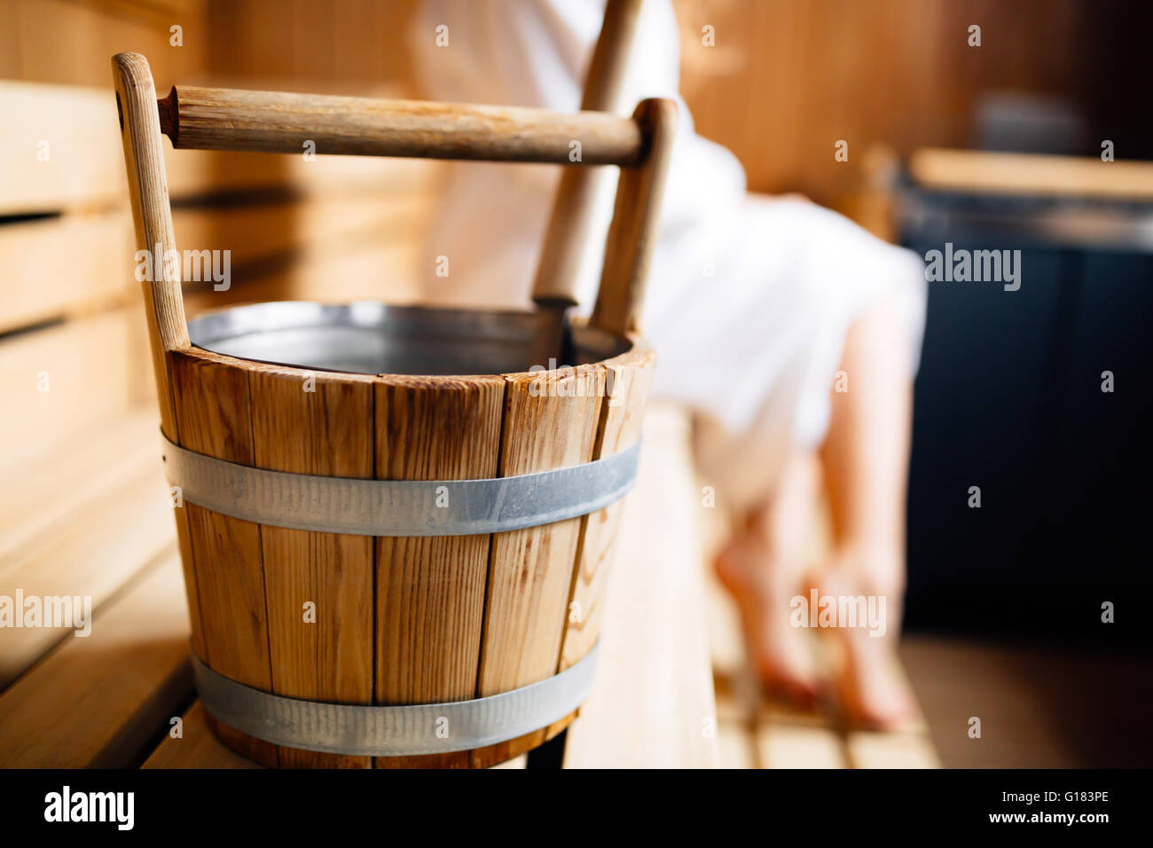 Finnish wooden sauna bucket - Stock Image