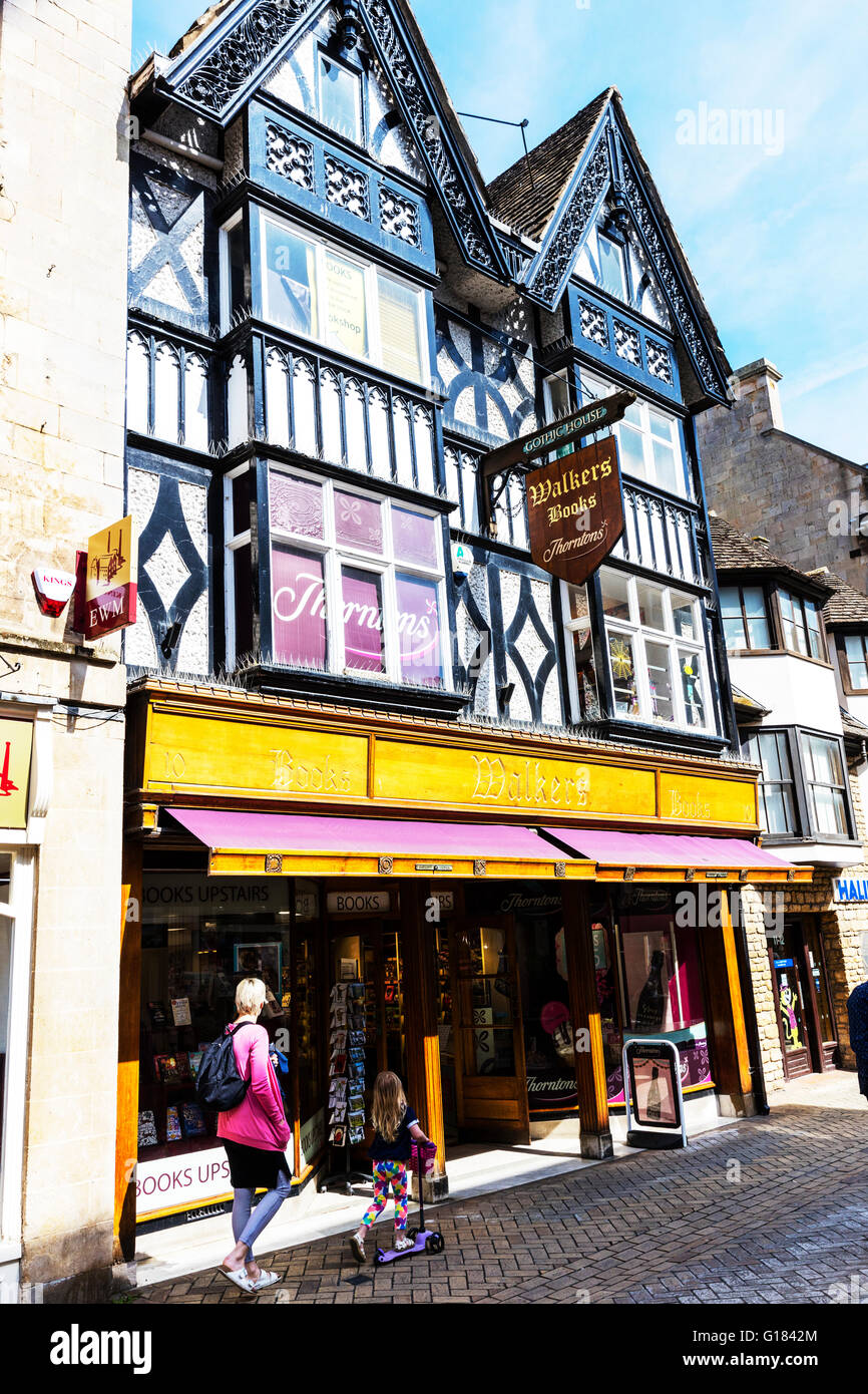 Stamford town gothic house Thorntons chocolate shop exterior Lincolnshire UK England English towns shops - Stock Image