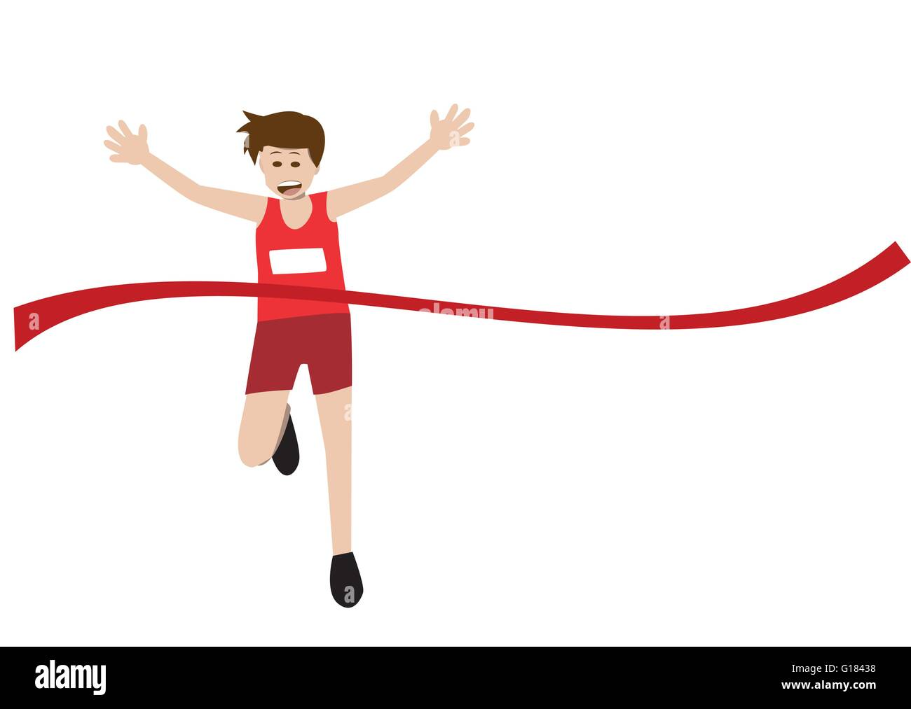 vector illustration of a runner athlete running and celebrates at finish line. eps 10 - Stock Vector