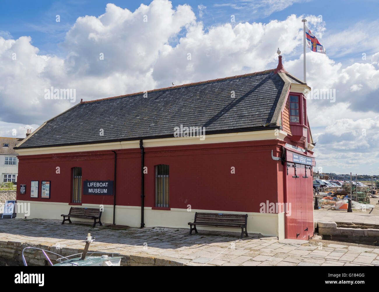 Poole Old Lifeboat Museum Boathouse and Shop, Fisherman's Dock, Poole Quay,  Dorset, UK - Stock Image