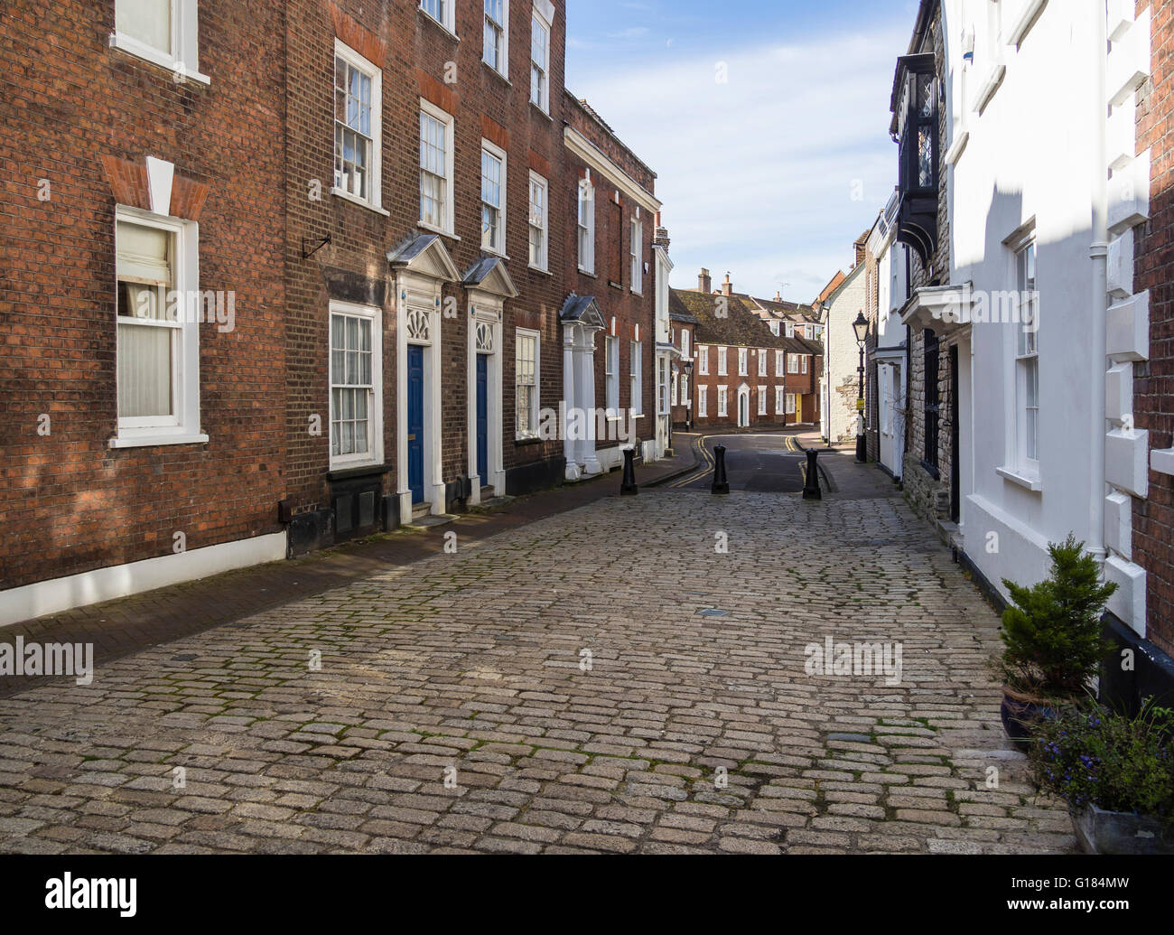 Cobbled Street in Poole Old Town, Dorset, UK Stock Photo