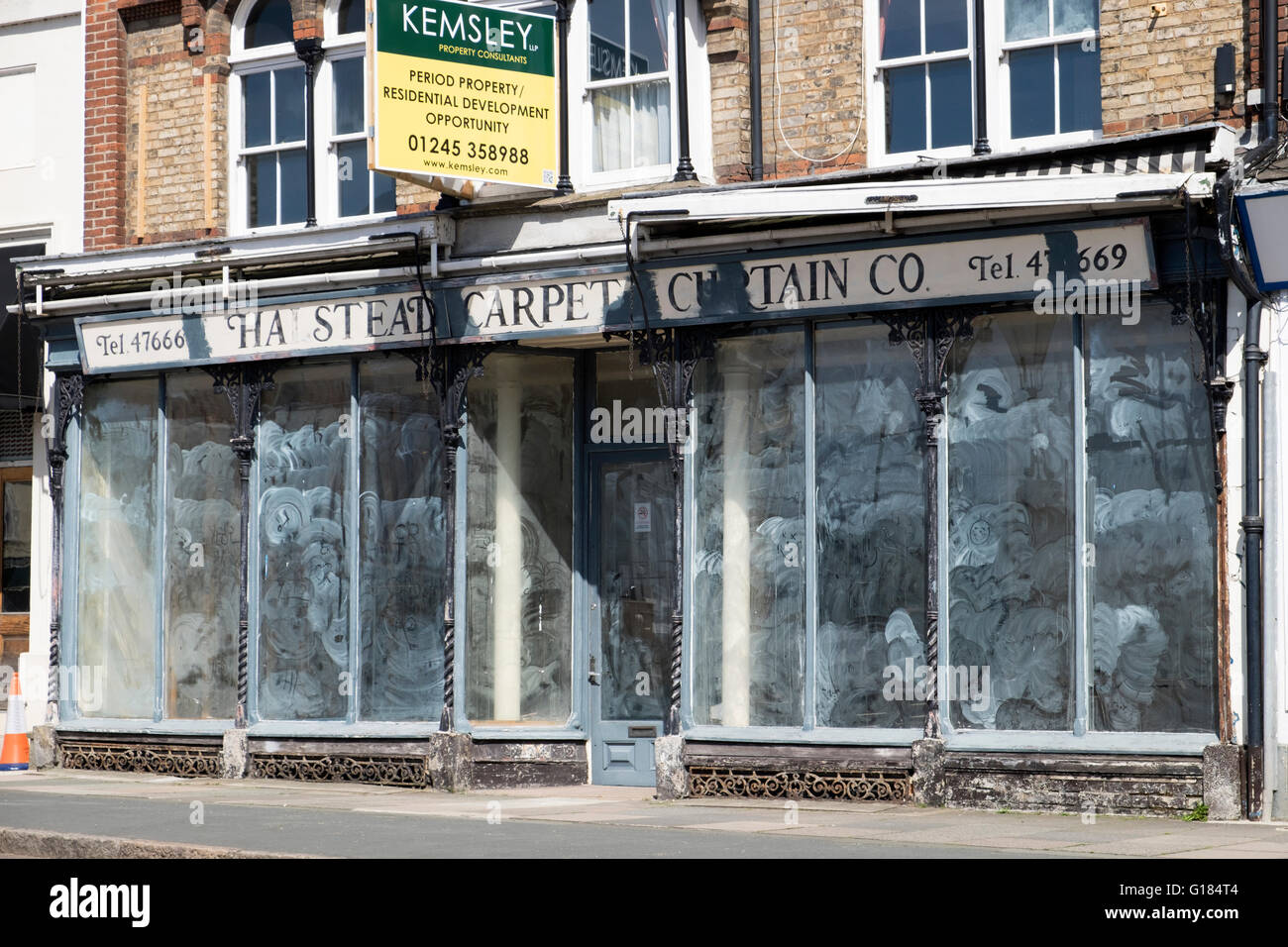 Kemsley property consultants, agents for an empty shop, Halstead, Essex, UK. - Stock Image