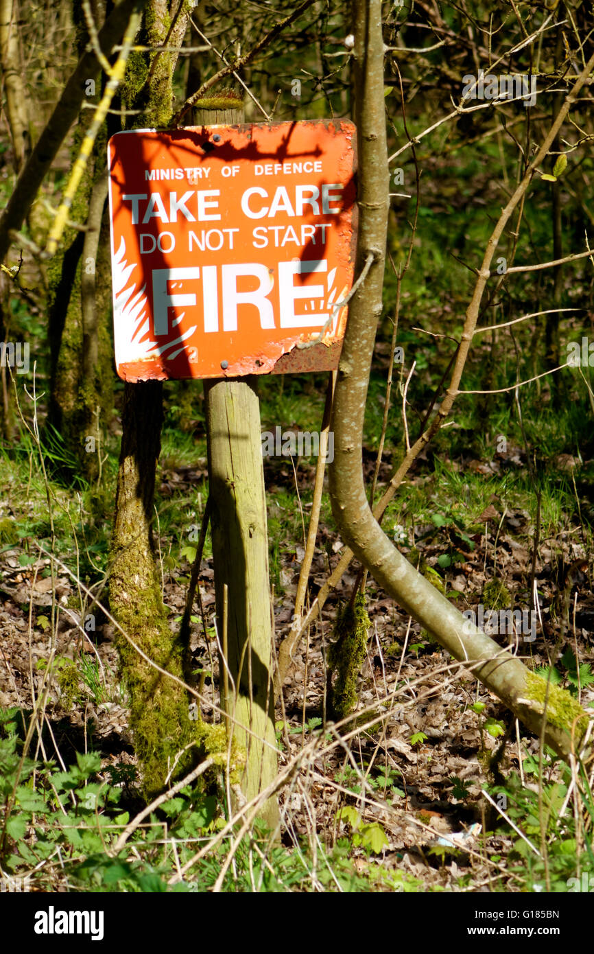 A Ministry of Defence Take Care Do Not Start Fire Warning Sign on Salisbury Plain Military Training Area, Wiltshire, - Stock Image