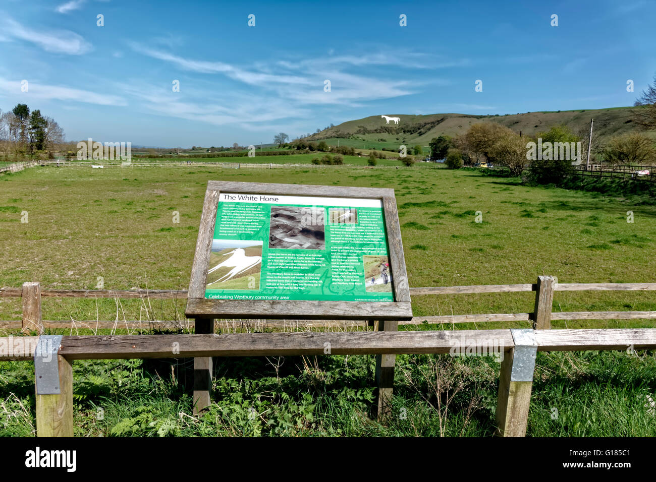 The Westbury White Horse and Information Board, Wiltshire, United Kingdom. Stock Photo