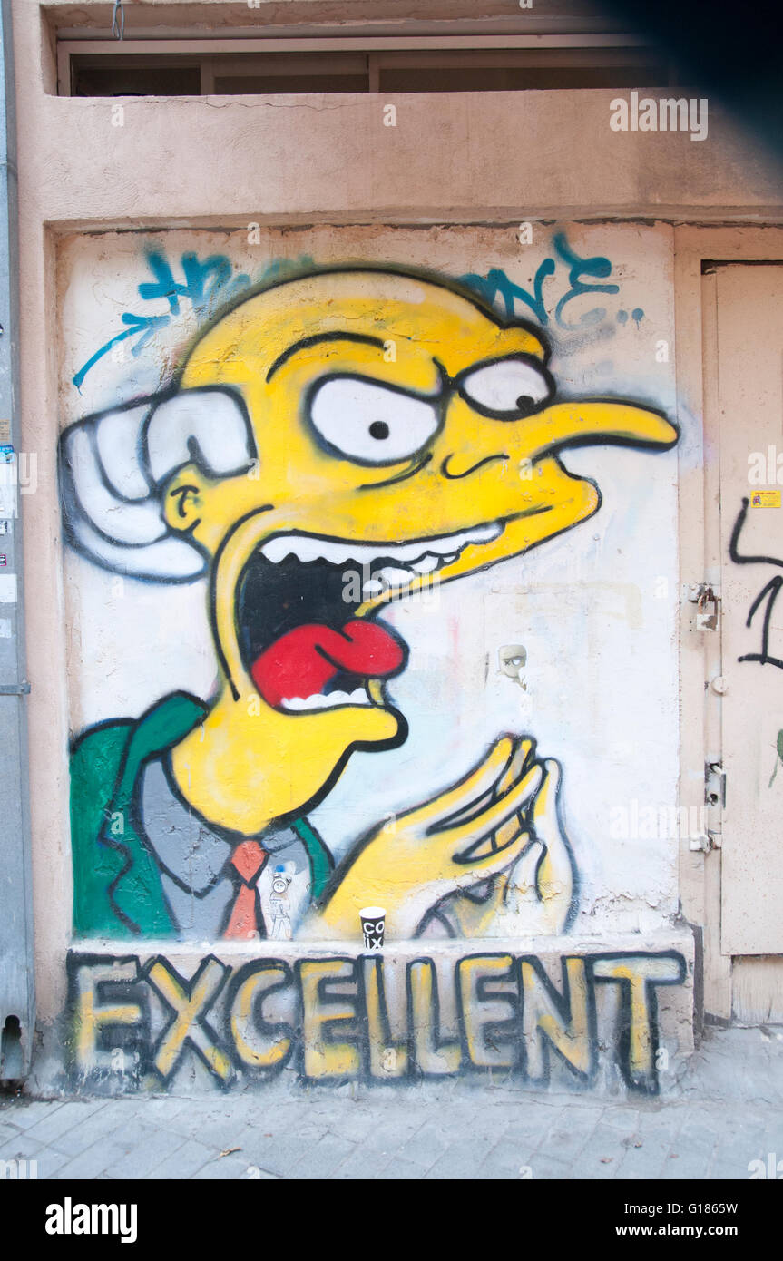Mr. Burns of The Simpson\'s Graffiti wall art in Florentin Stock ...