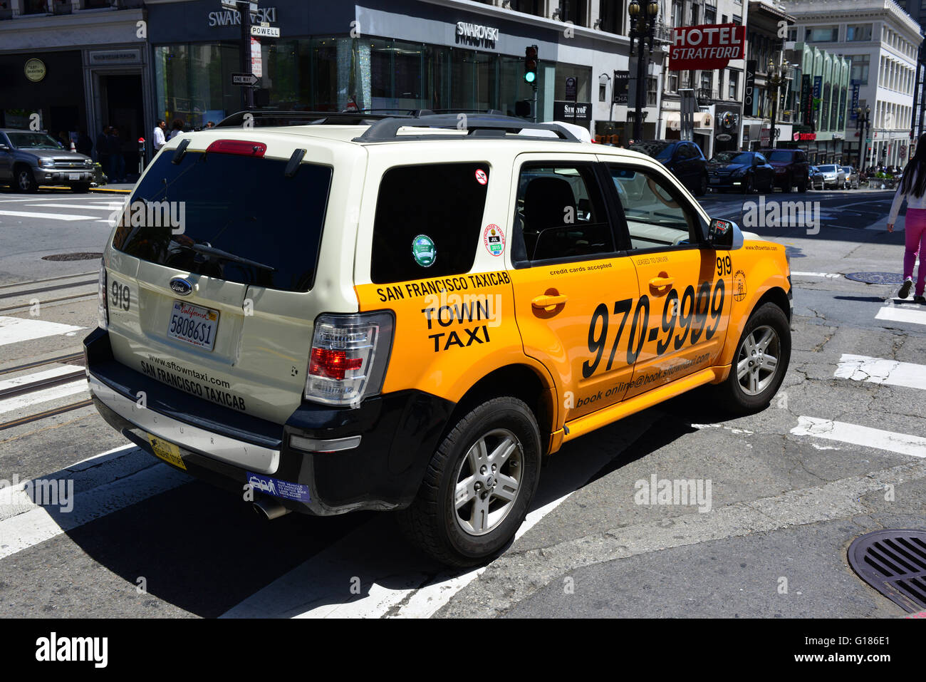 San Francisco Taxicab on Powell Street on a sunny afternoon in June Stock Photo