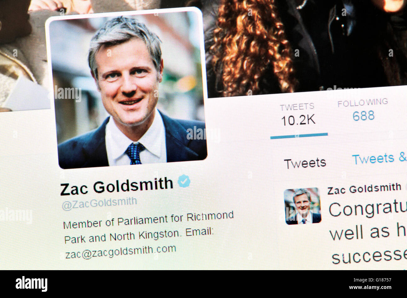 Twitter homepage screenshot: Zac Goldsmith, Conservative MP and failed London Mayor Candidate (May 2016) - Stock Image