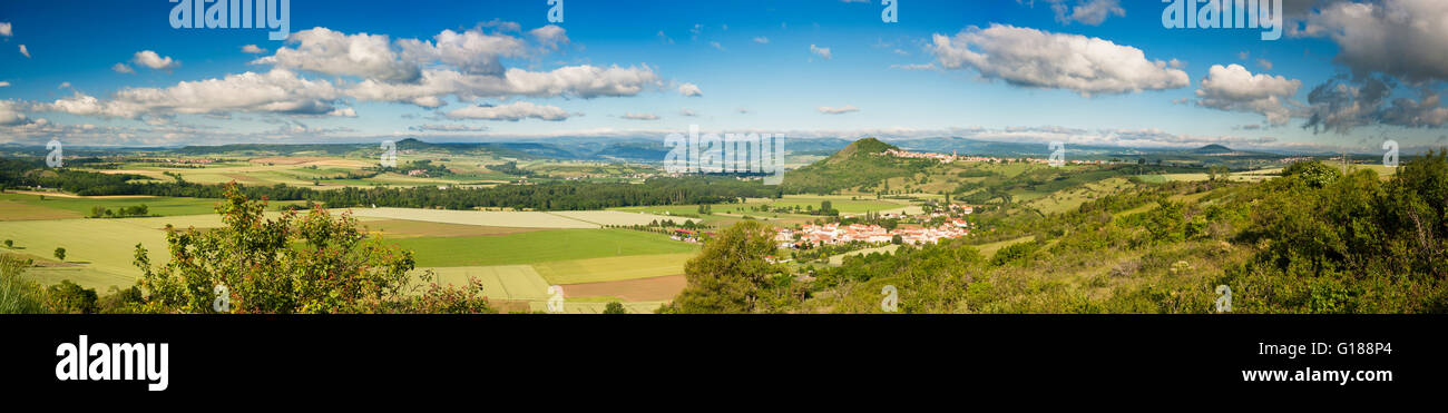 View over the villages of Orsonette and Nonette, Puy-de-Dome, Auvergne, illustrating the rift valley topography Stock Photo