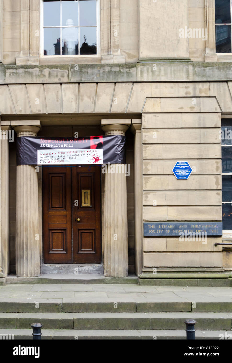 The Entrance of the Literary and Philosophical Society of Newcastle-Upon-Tyne (Grade II* Listed Building) - Stock Image