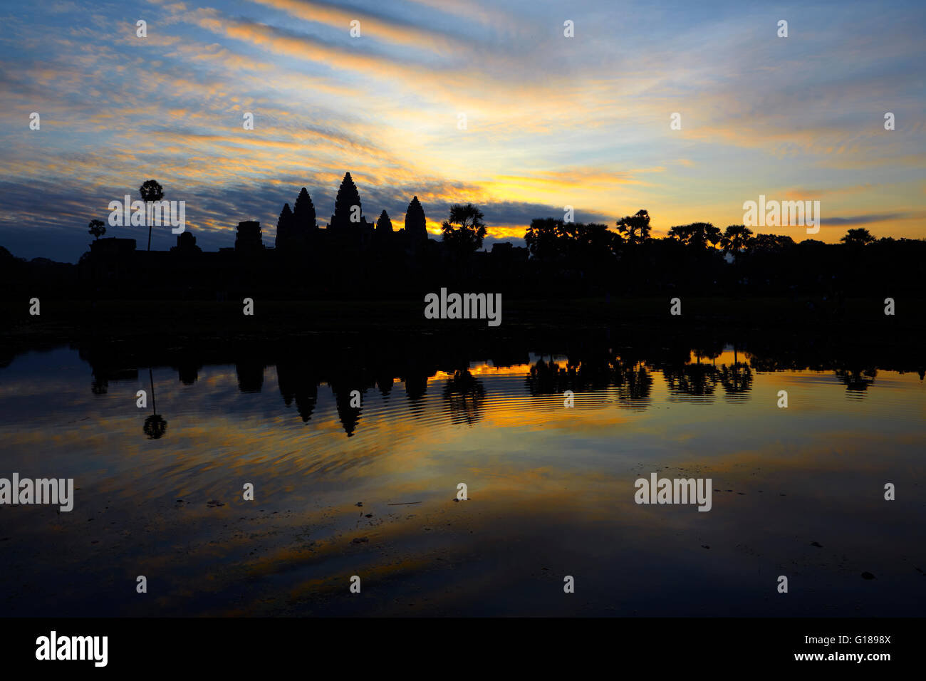 Angkor Wat temple at sunrise, Siem Reap, Cambodia - Stock Image